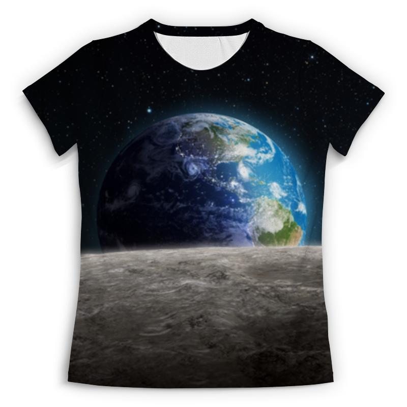 Футболка с полной запечаткой (женская) Printio Земля с луны