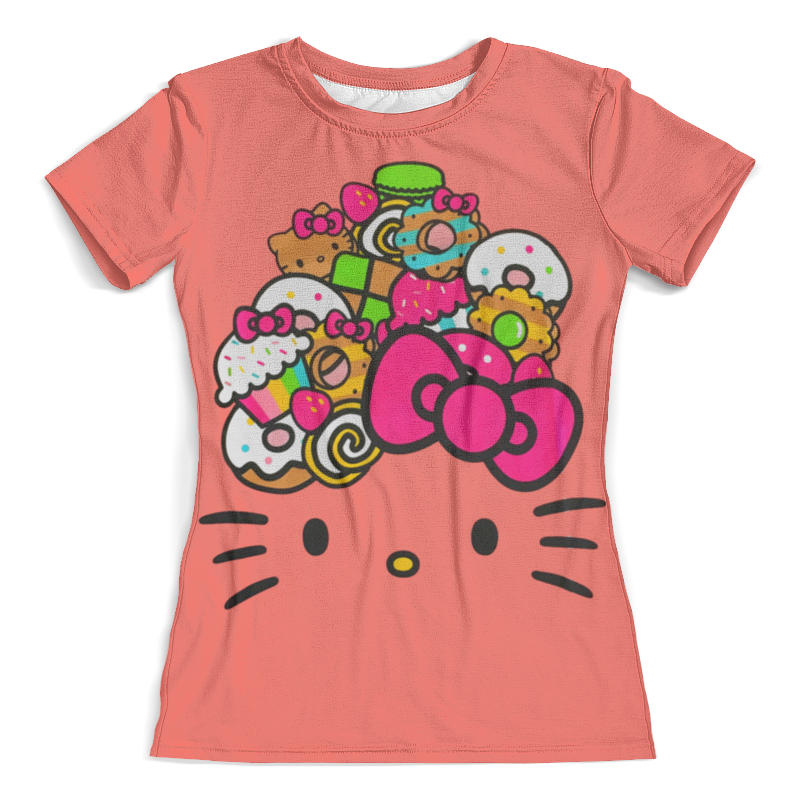 Футболка с полной запечаткой (женская) Printio Hello kitty cxzyking 20cm sweet new kt cat hello kitty plush toys cute hug mushroom hello kitty kt cat pillow dolls for kids baby girl gift