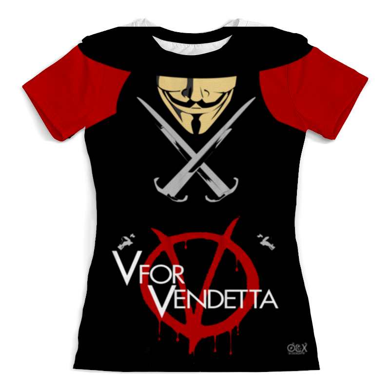 Футболка с полной запечаткой (женская) Printio V for vendetta футболка с полной запечаткой мужская printio v значит вендетта v for vendetta