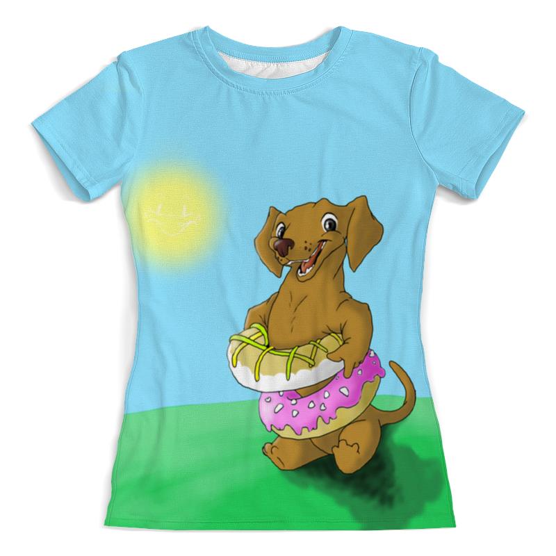 Футболка с полной запечаткой (женская) Printio Собачка в пончиках футболка с полной запечаткой женская printio хипповая собачка 1