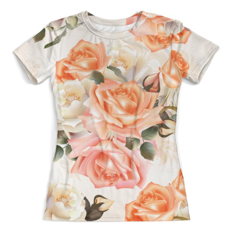 Футболка с полной запечаткой (женская) Printio Чайная роза 12storeez платье футболка с разрезами чайная роза