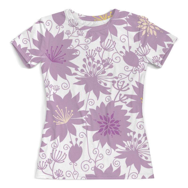 Футболка с полной запечаткой (женская) Printio Фиолетовые цветы