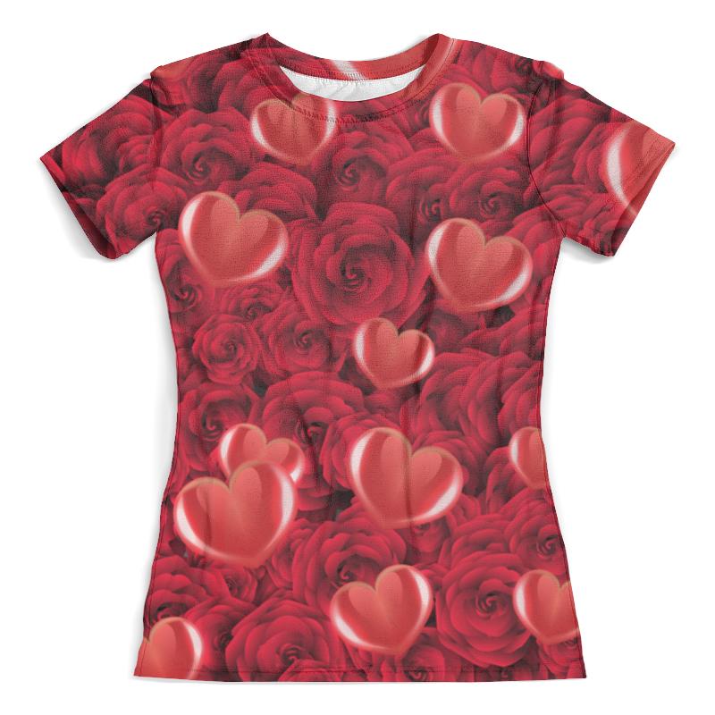 Футболка с полной запечаткой (женская) Printio Сердечки и розы цена