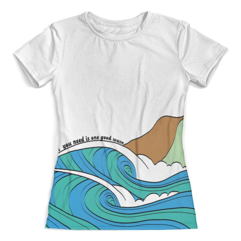 Футболка с полной запечаткой (женская) Printio All you need is one good wave футболка с полной запечаткой мужская printio all you need is love кошки на качелях