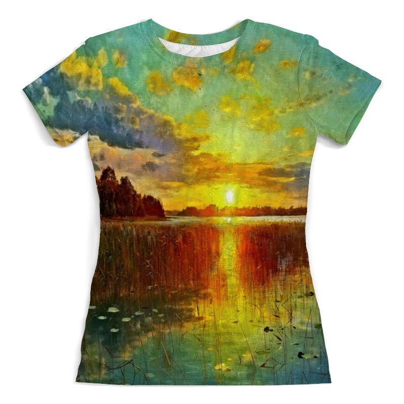 Футболка с полной запечаткой (женская) Printio Закат у озера футболка с полной запечаткой женская printio певица у микрофона