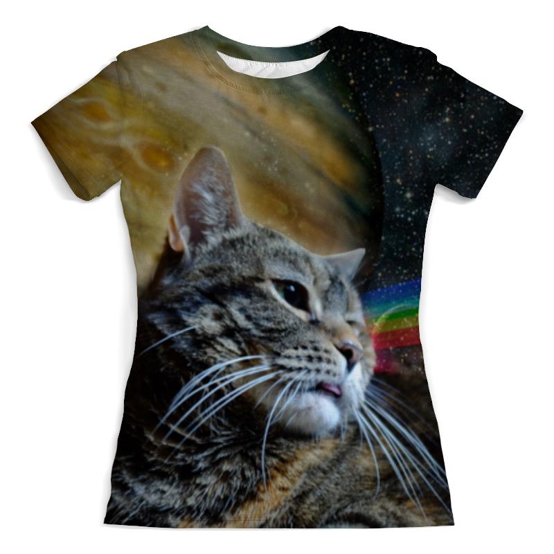 Футболка с полной запечаткой (женская) Printio Космический кот футболка с полной запечаткой женская printio кот граф