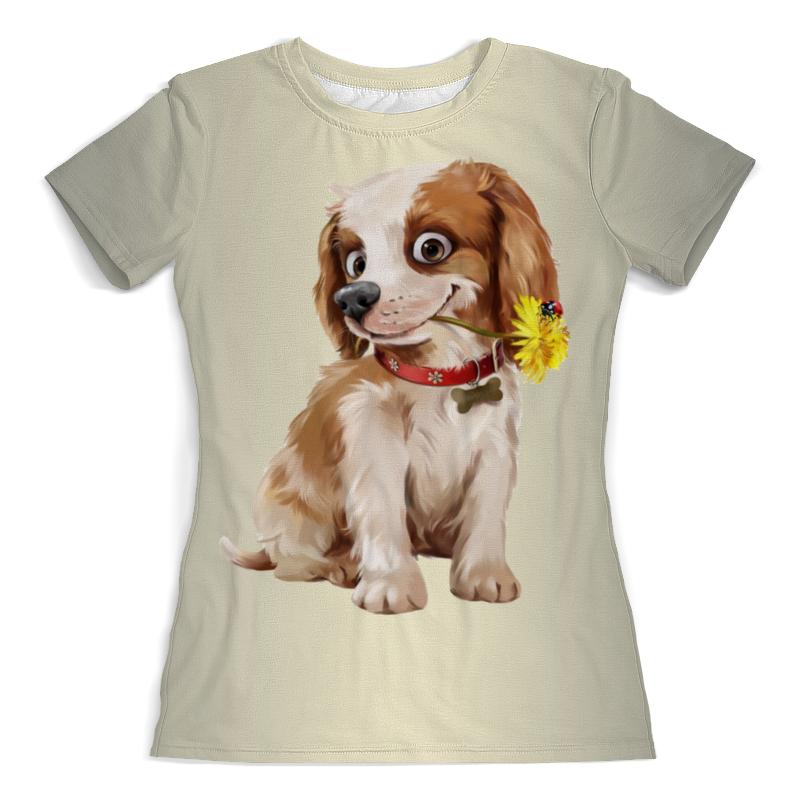 Футболка с полной запечаткой (женская) Printio Собачка с одуванчиком (1) футболка с полной запечаткой женская printio хипповая собачка 1