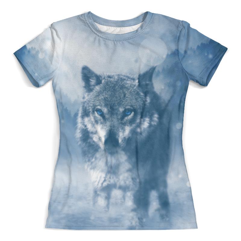 Футболка с полной запечаткой (женская) Printio Волк с голубыми глазами футболка с полной запечаткой мужская printio красная шапочка и серый волк