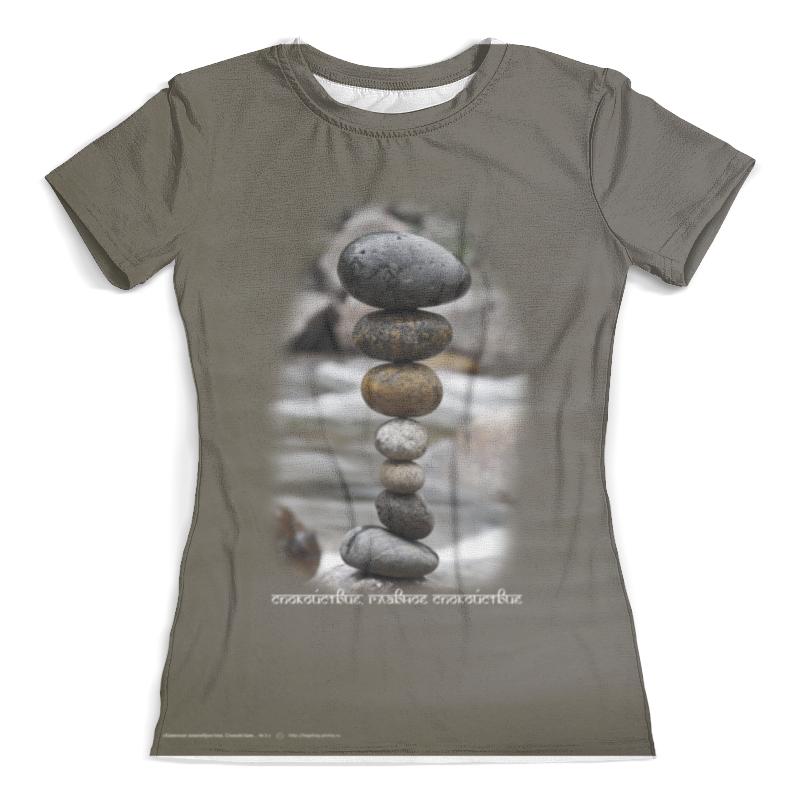 Футболка с полной запечаткой (женская) Printio Каменные пирамидки. спокойствие... #3