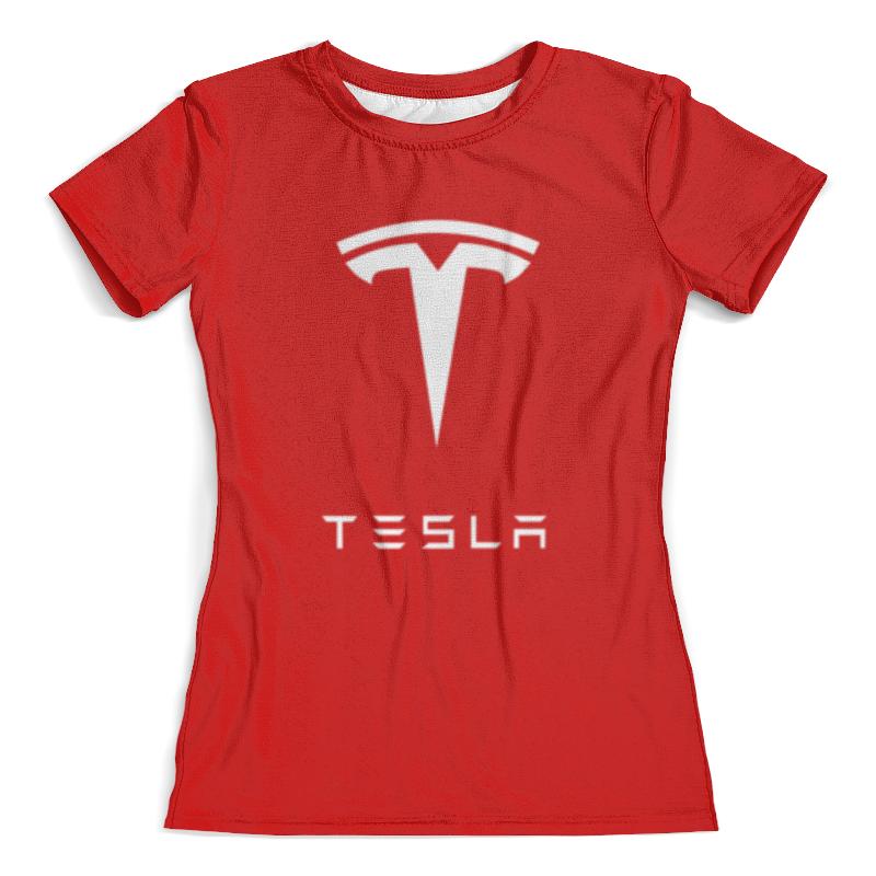 Футболка с полной запечаткой (женская) Printio Тесла моторс цена и фото