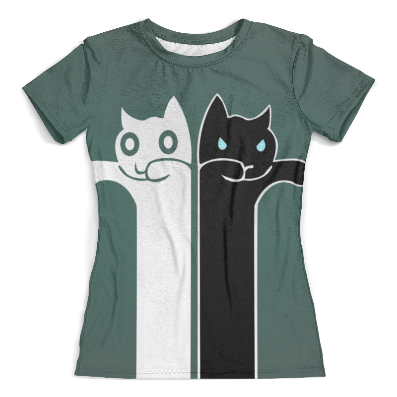 Футболка с полной запечаткой (женская) Printio Белый кот , чёрная кошка футболка с полной запечаткой женская printio чёрная кошка