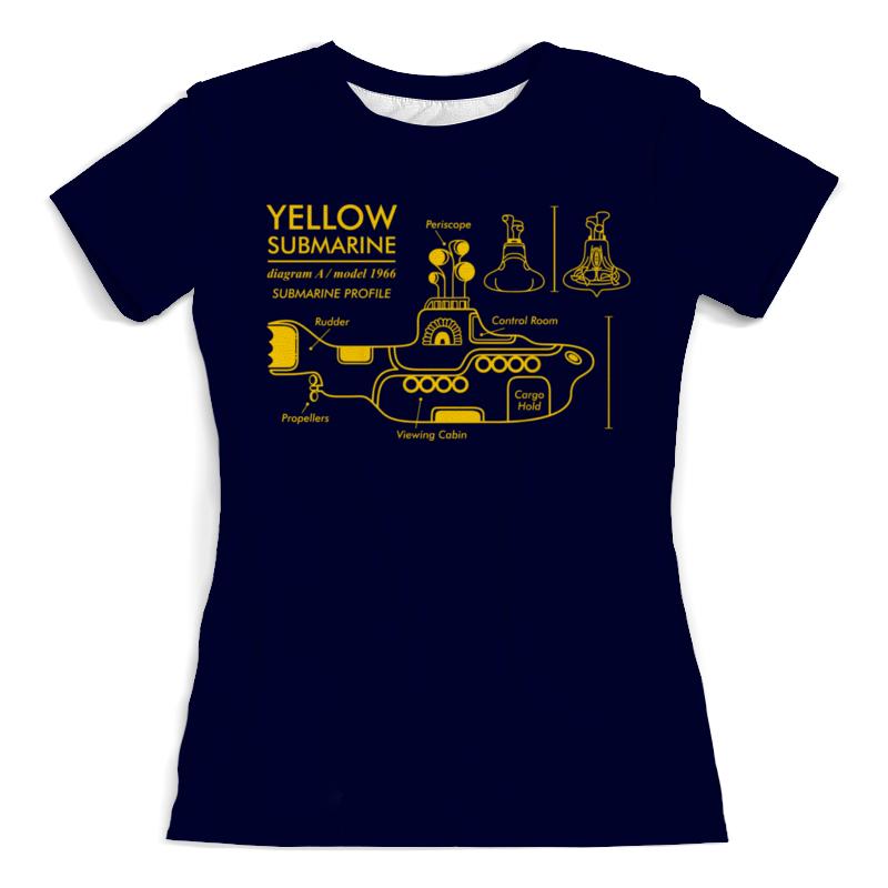 Футболка с полной запечаткой (женская) Printio Yellow submarine цена и фото