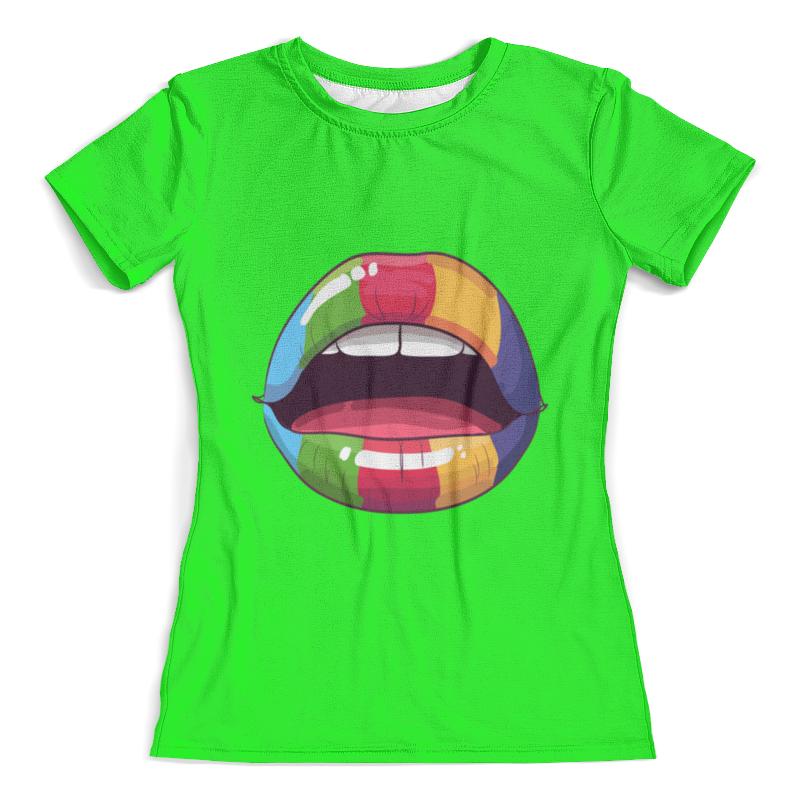 Футболка с полной запечаткой (женская) Printio Разноцветные губы футболка с полной запечаткой женская printio разноцветные воздушные шары