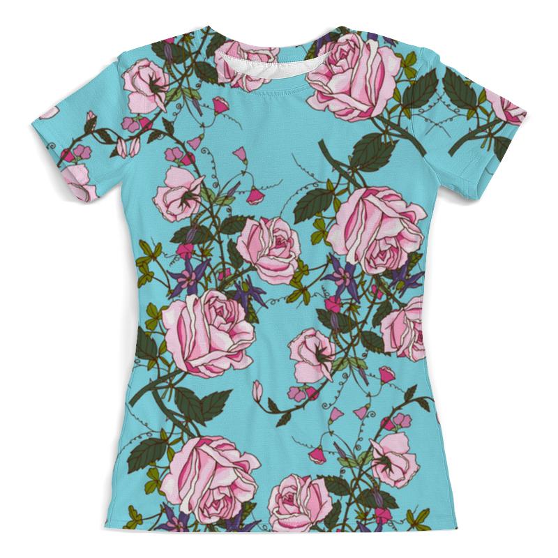 Футболка с полной запечаткой (женская) Printio Розы в цвету цена