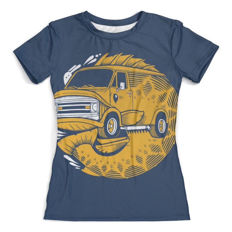 Футболка с полной запечаткой (женская) Printio Fish bus / рытобус (рыба автобус)
