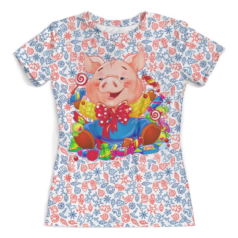 Футболка с полной запечаткой (женская) Printio С новым годом! (хрюша) футболка с полной запечаткой женская printio миньон
