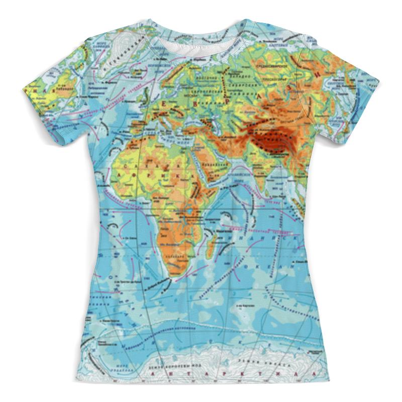 Футболка с полной запечаткой (женская) Printio Карта мира оригинальная карта мира со специальным покрытием с указанием городов