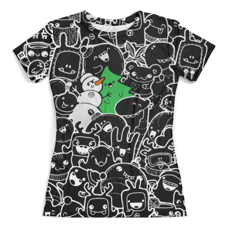 Футболка с полной запечаткой (женская) Printio Дудлы новогодние черные футболка с полной запечаткой женская printio новогодние игрушки