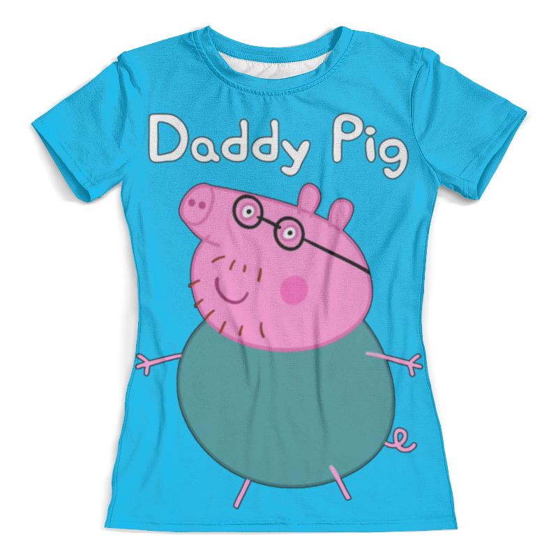 все цены на Футболка с полной запечаткой (женская) Printio Daddy pig