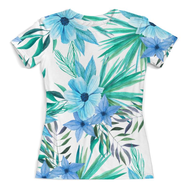 Футболка с полной запечаткой (женская) Printio Синие цветы футболка с полной запечаткой printio цветы любви