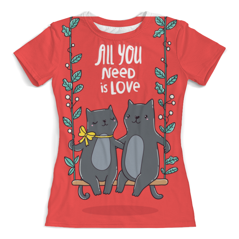Футболка с полной запечаткой (женская) Printio All you need is love. кошки на качелях. футболка с полной запечаткой мужская printio любовь повсюду love is all around