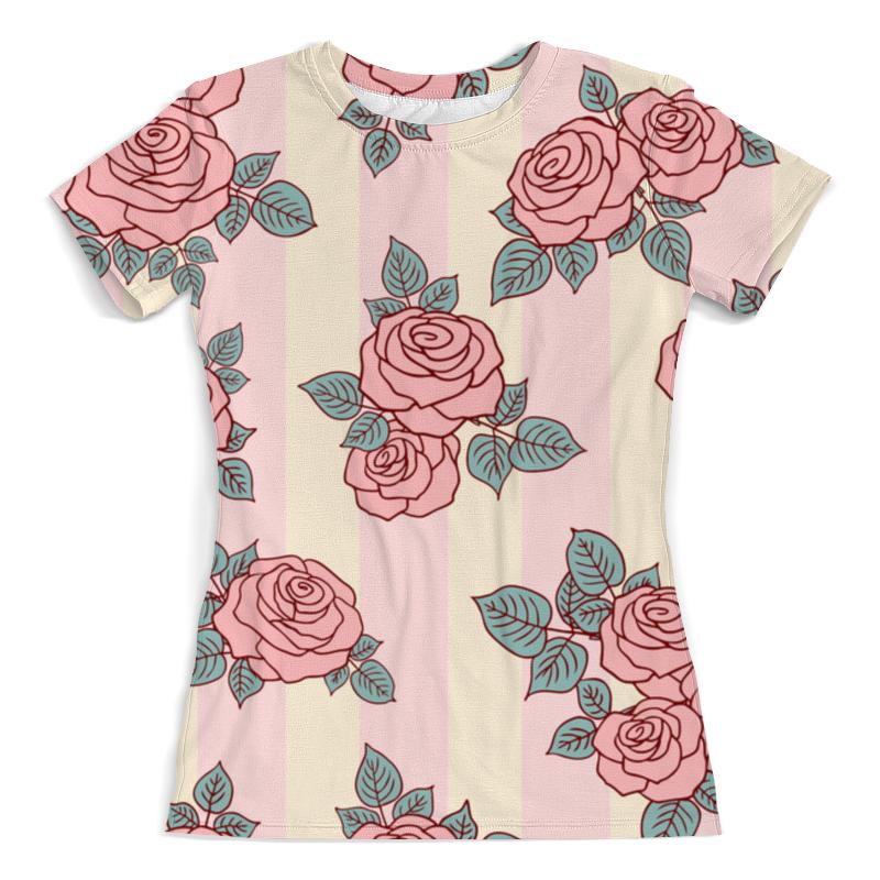 Футболка с полной запечаткой (женская) Printio Розовые розы цена