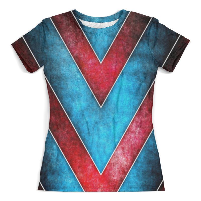Футболка с полной запечаткой (женская) Printio Красно-синие полосы футболка с полной запечаткой для мальчиков printio синие полосы