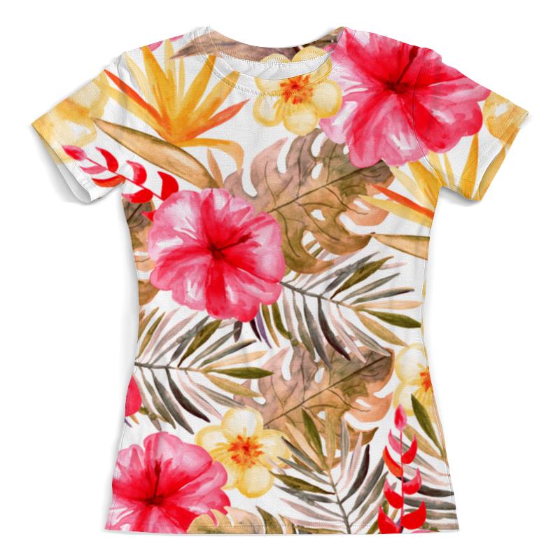 Футболка с полной запечаткой (женская) Printio Тропические цветы футболка с полной запечаткой printio цветы любви