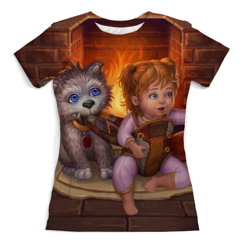 Футболка с полной запечаткой (женская) Printio Девочка с собачкой футболка с полной запечаткой мужская printio девочка с персиками