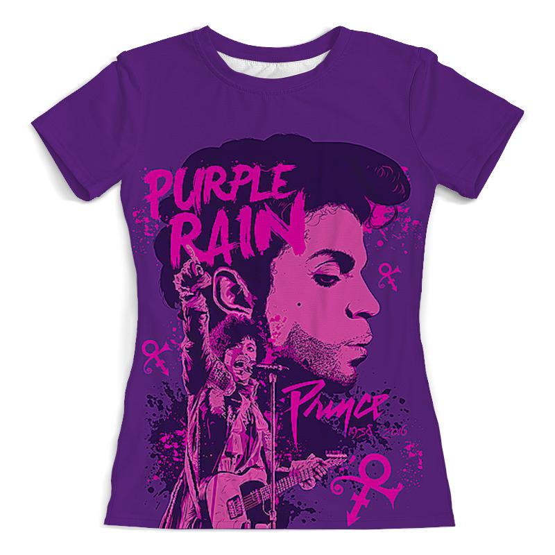 Футболка с полной запечаткой (женская) Printio Prince – purple rain цена
