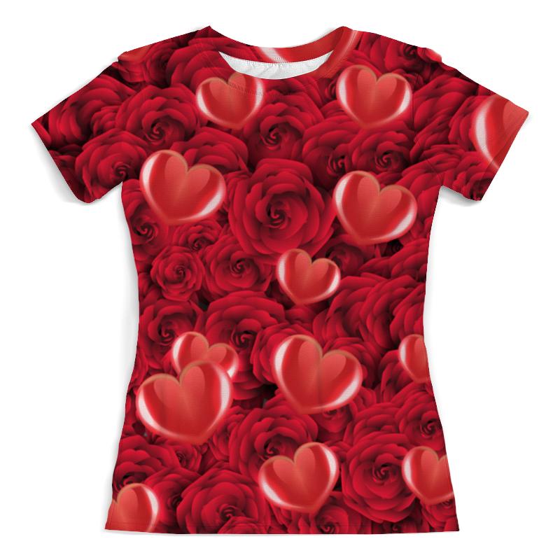 Футболка с полной запечаткой (женская) Printio Сердечки и розы сумка с полной запечаткой printio сердечки и розы