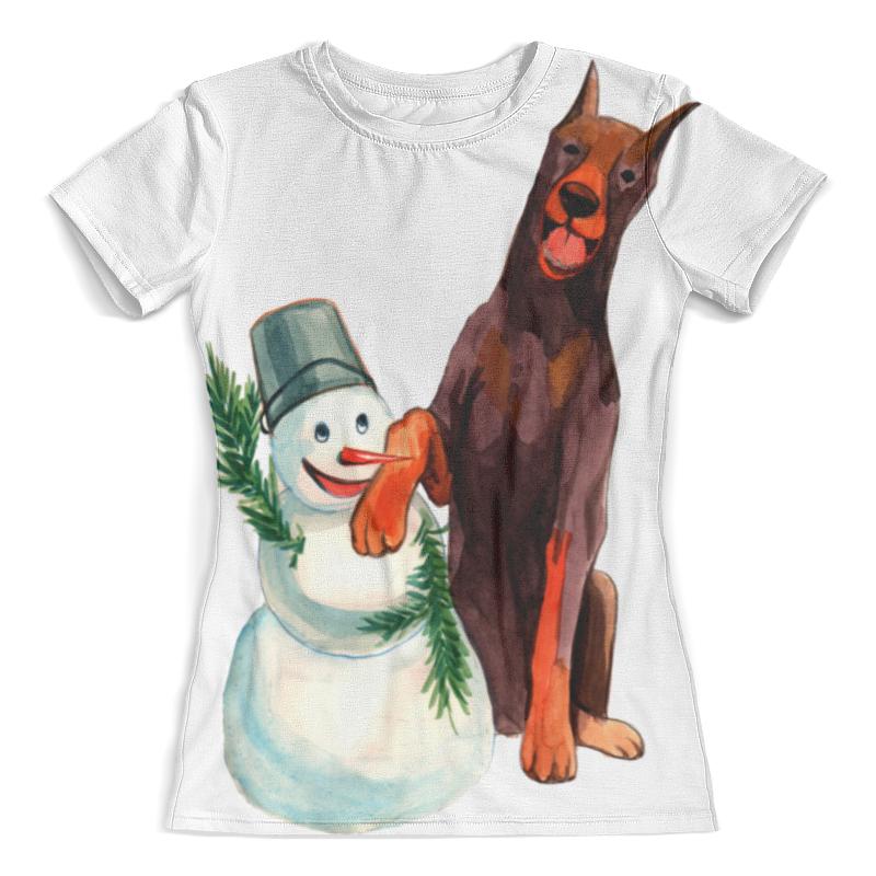 Футболка с полной запечаткой (женская) Printio Забавная акварельная собака, символ 2018 года футболка классическая printio акварельная новогодняя забавная собака