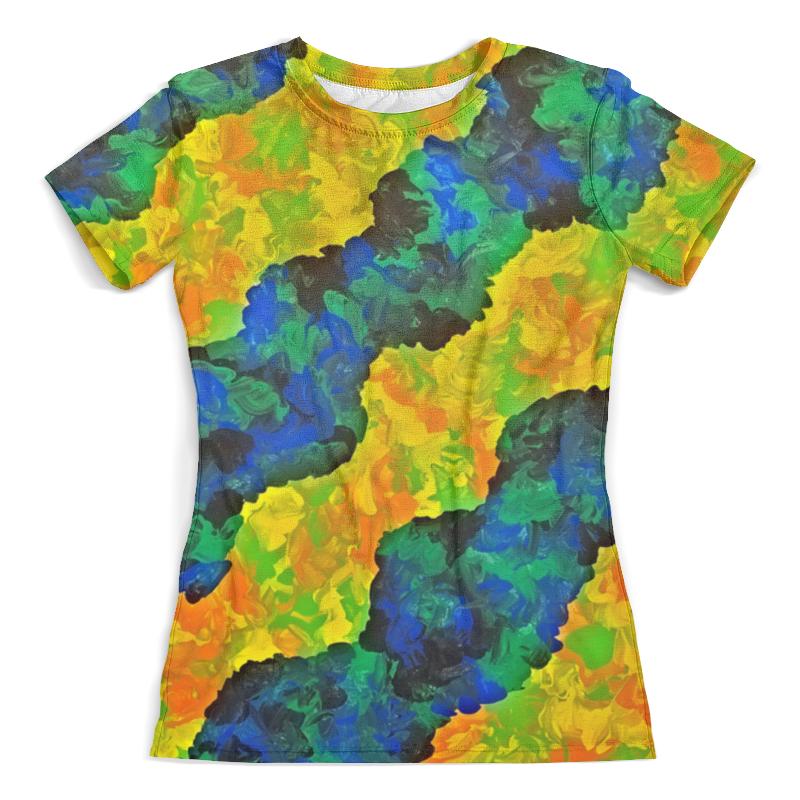 Футболка с полной запечаткой (женская) Printio Желто-синие волны футболка с полной запечаткой женская printio желто зеленый узор