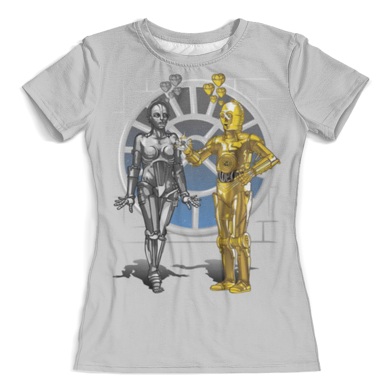 Футболка с полной запечаткой (женская) Printio Robots love story (star wars)