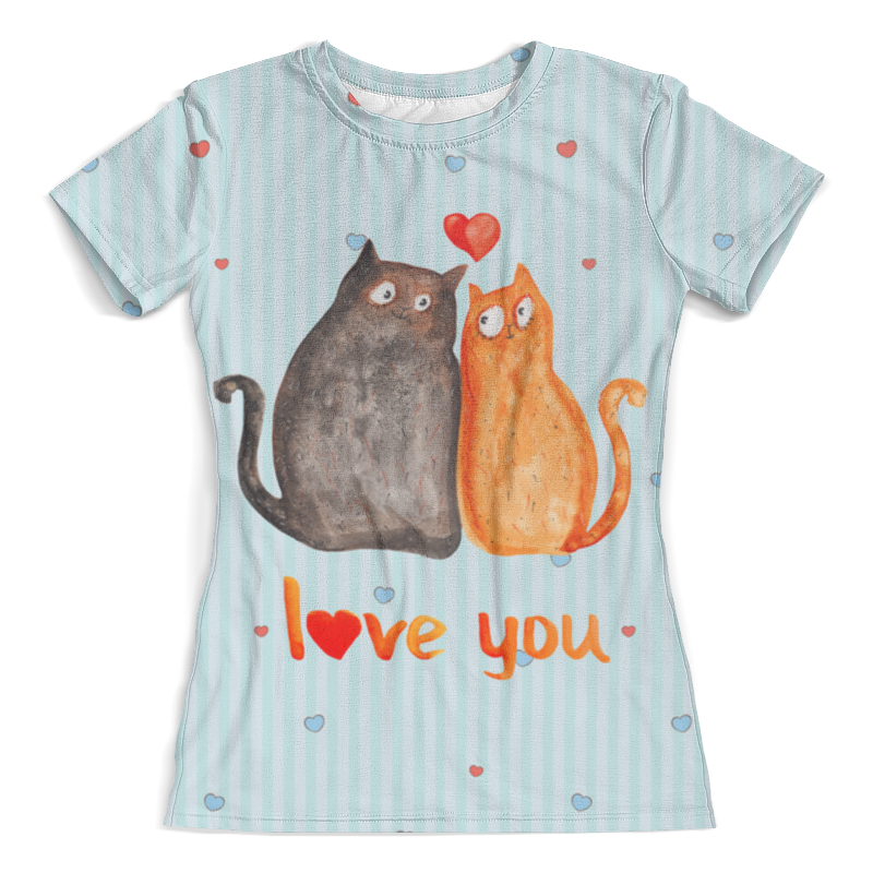 Футболка с полной запечаткой (женская) Printio Влюбленные коты. парные футболки. футболки