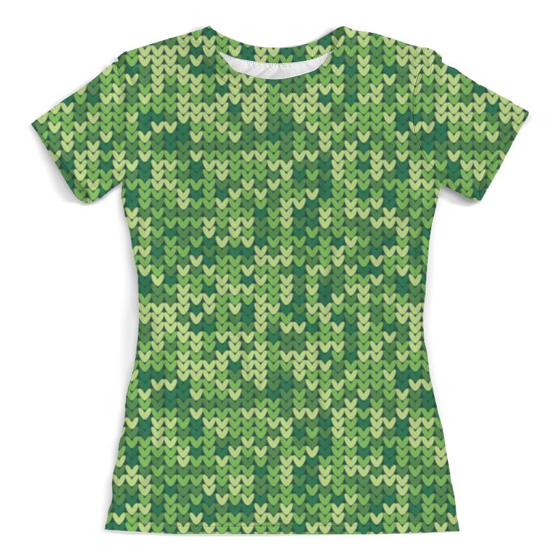 Футболка с полной запечаткой (женская) Printio Зеленый вязаный узор футболка с полной запечаткой мужская printio вязаный узор зима
