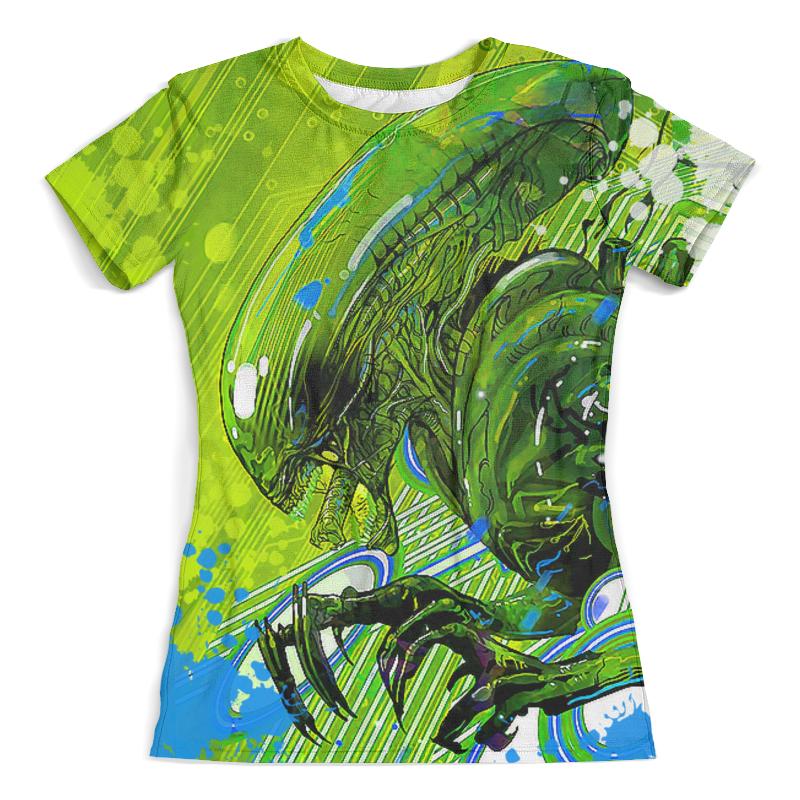 Футболка с полной запечаткой (женская) Printio Alien design цена