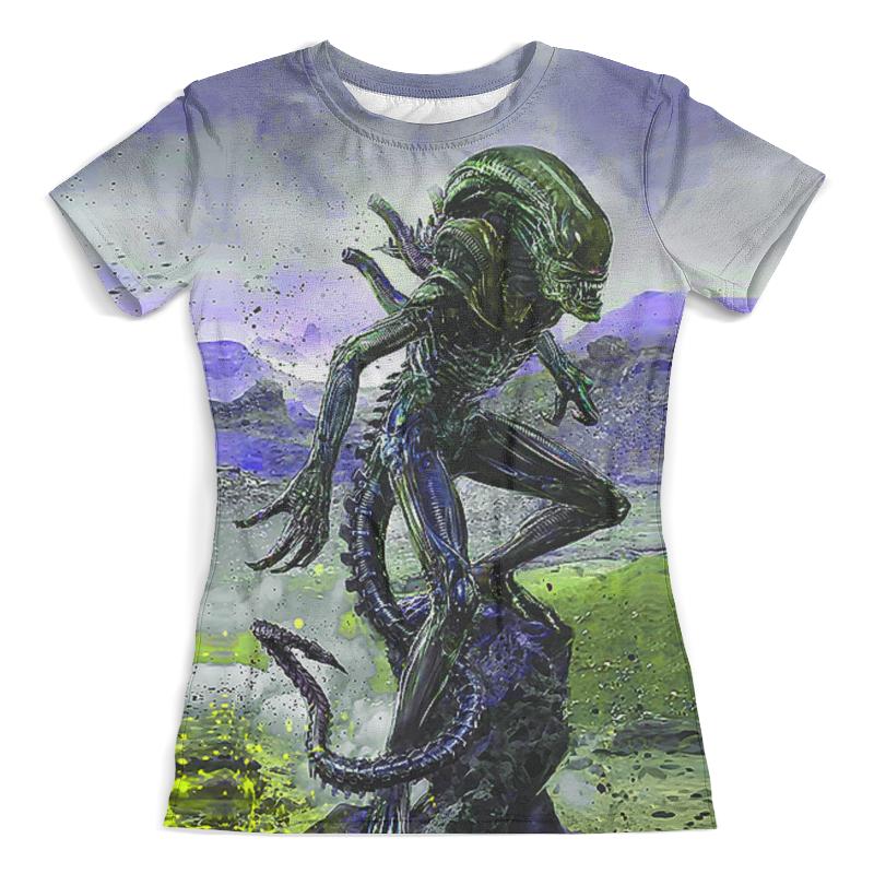 Футболка с полной запечаткой (женская) Printio Alien design (color) slogan alien print water color tee