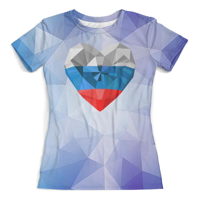 Футболка с полной запечаткой (женская) Printio Флаг россии цена