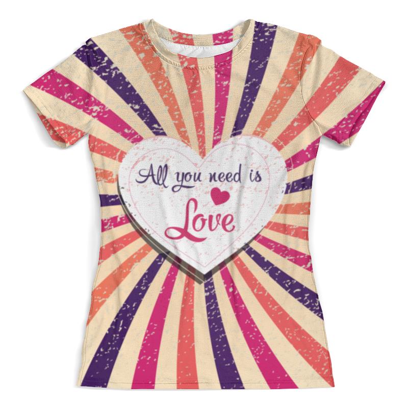 Футболка с полной запечаткой (женская) Printio All you need is love футболка с полной запечаткой мужская printio all you need is love кошки на качелях