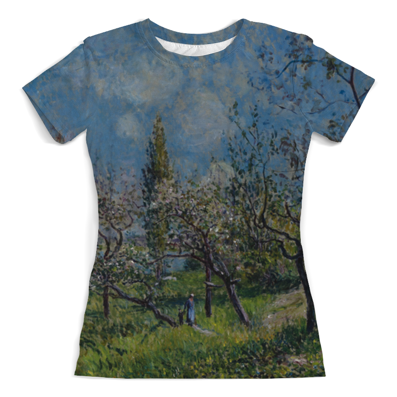 Футболка с полной запечаткой (женская) Printio Фруктовый сад весной (альфред сислей) сислей а альфред сислей альбом