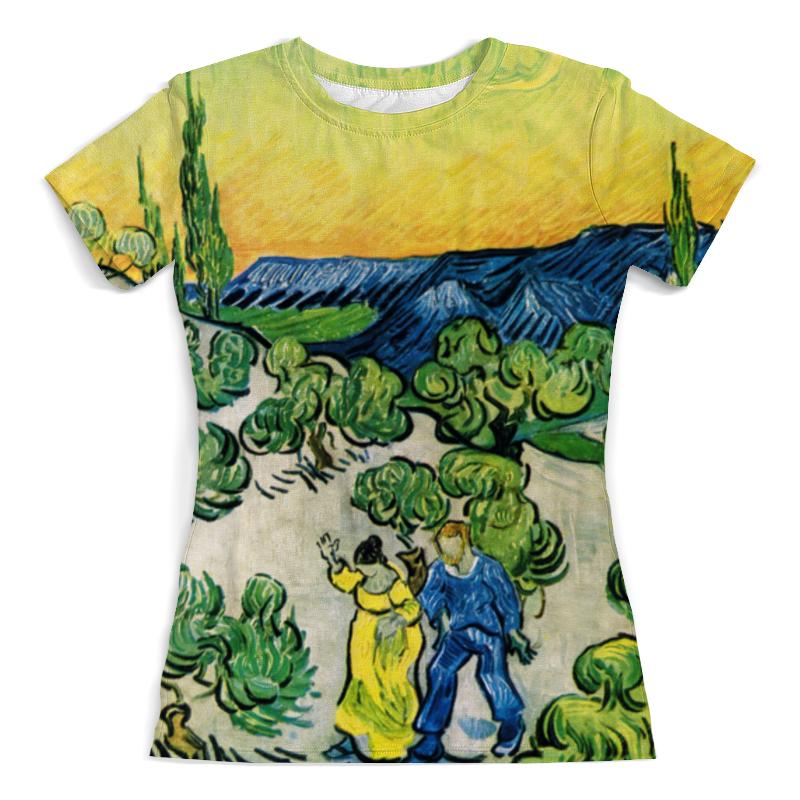 Футболка с полной запечаткой (женская) Printio Пейзаж с прогуливающейся парой и полумесяцем футболка с полной запечаткой женская printio морской пейзаж у сент мари де ла мер ван гог
