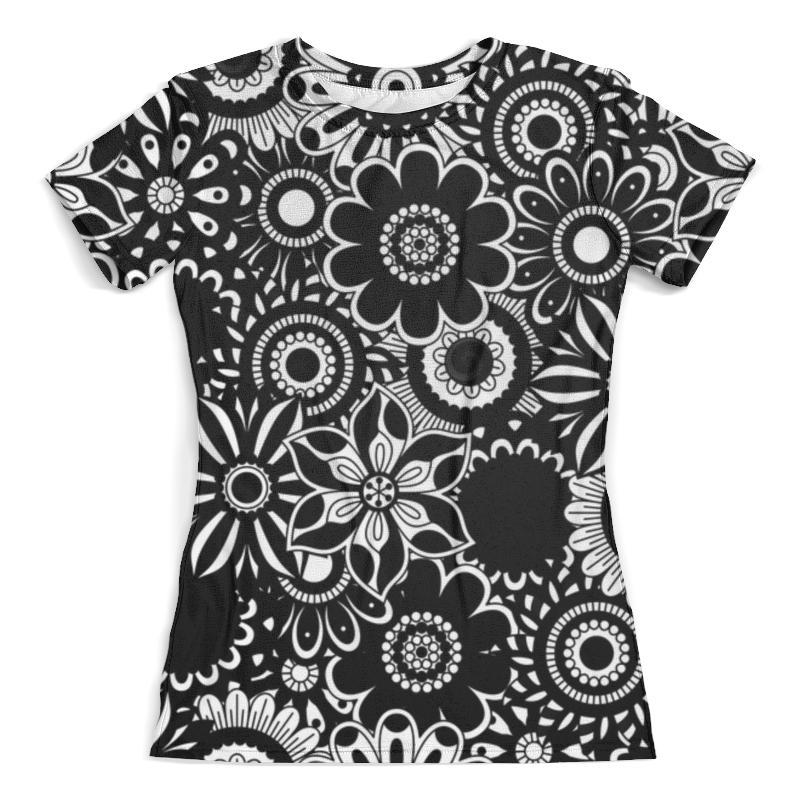 Футболка с полной запечаткой (женская) Printio Черно-белые цветы велообувь женская lake mx 165w черно серебристый