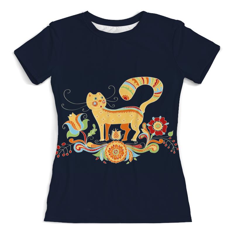 Футболка с полной запечаткой (женская) Printio Кошка с цветами футболка с полной запечаткой женская printio кошка