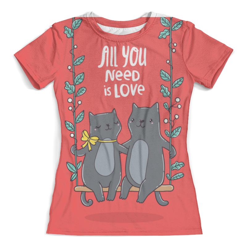 Футболка с полной запечаткой (женская) Printio All you need is love. кошки на качелях. ninomio ninomio туника заяц на качелях серая