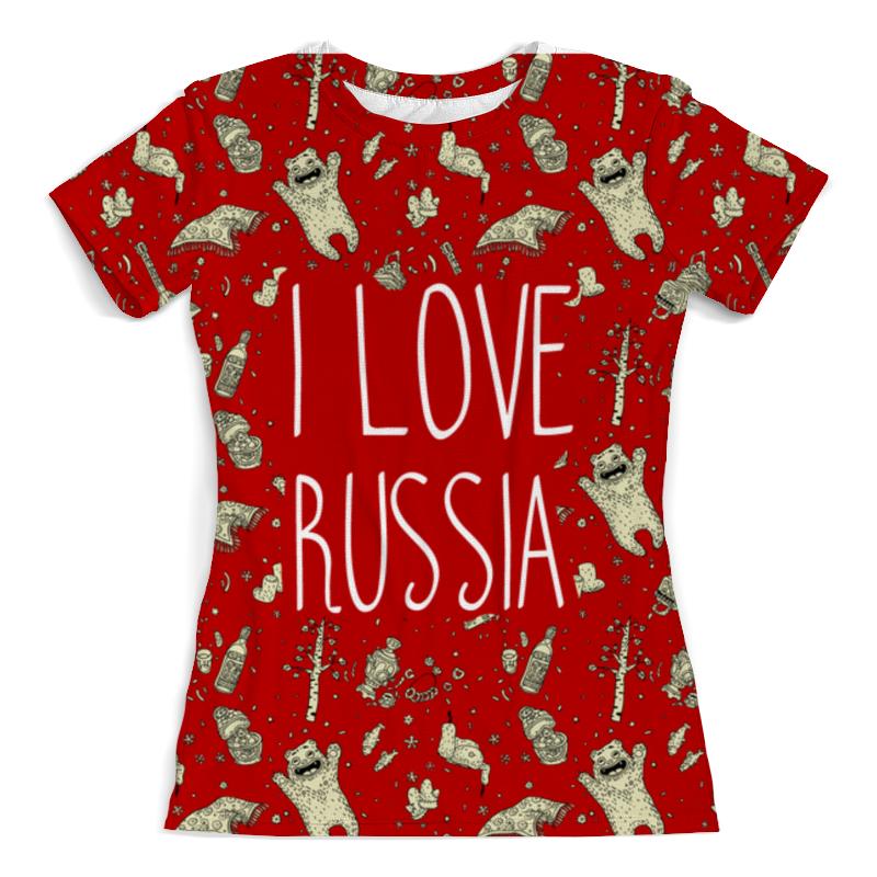 Футболка с полной запечаткой (женская) Printio I love russia (я люблю россию) print bar я люблю россию