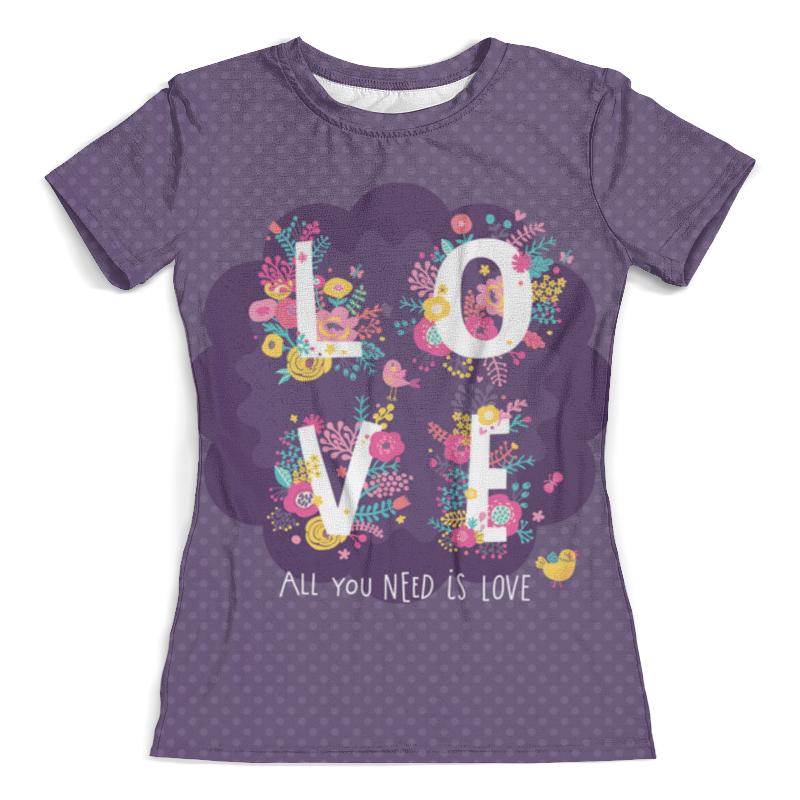 Футболка с полной запечаткой (женская) Printio All you need is love. парные футболки футболка с полной запечаткой мужская printio all you need is love кошки на качелях