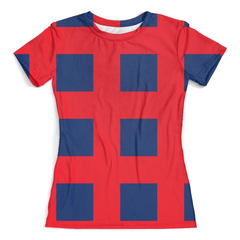 Футболка с полной запечаткой (женская) Printio Синие квадраты цена