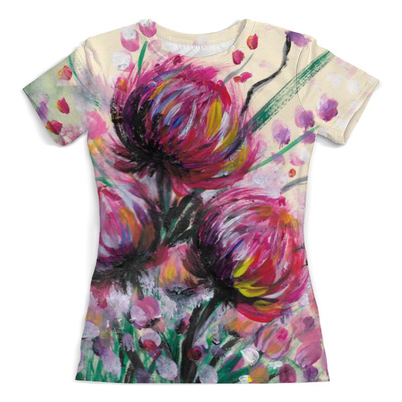 Футболка с полной запечаткой (женская) Printio Розовые хризантемы