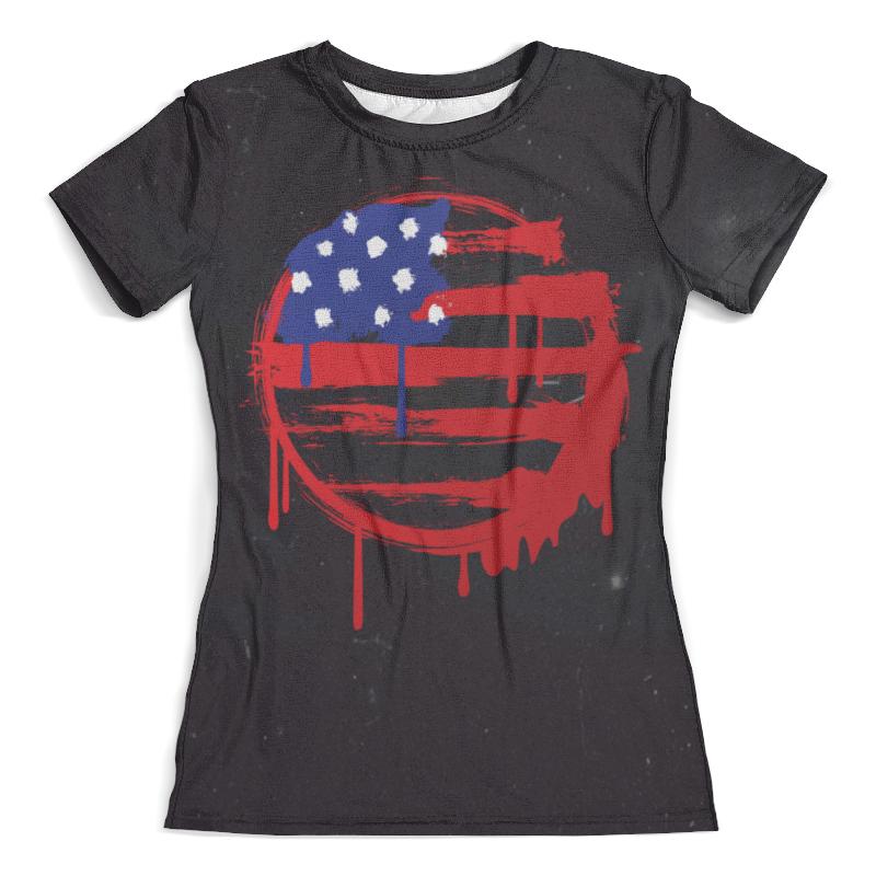 Футболка с полной запечаткой (женская) Printio American flag (американский флаг)